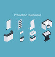 promotion equipment flat isometric icon set vector image