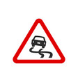 red triangle slippery road sign vector image vector image