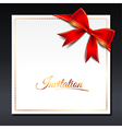 ribbon bow invitation vector image vector image