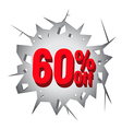Sale 60 percent on Hole cracked white wall vector image vector image
