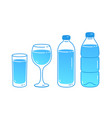 set bottles and glasses water vector image
