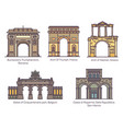 set european famous arch in thin line vector image
