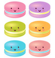 set of colorful cute macaron characters vector image