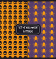 set of halloween pattern backgrounds skull spider vector image vector image