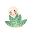 smiling blonde fairy girl stay under leaves vector image vector image