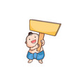 thai boy holding a wooden board vector image vector image