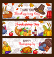 thanksgiving day harvest greeting banners vector image vector image