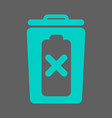 trash bin battery and prohibition sign vector image