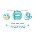 triple hotel room concept icon vector image vector image