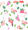 tropical flamingo seamless pattern summer time vector image vector image