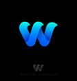 w logo three blue waves monogram vector image