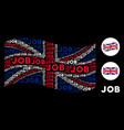 waving uk flag collage of job text items vector image