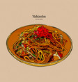 yakisoba stir-fried noodle with meat and vector image