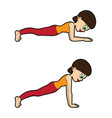 yoga asana set plank pose vector image vector image