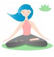Girl sitting in lotus yoga pose vector image
