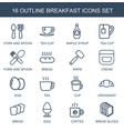 16 breakfast icons vector image vector image