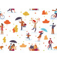autumn people seamless pattern guys and kid vector image vector image