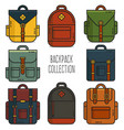 backpack collection vector image vector image