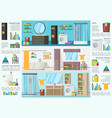 bathroom interior design infographic concept vector image vector image