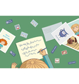 Blonde girl writes a letter vector image vector image