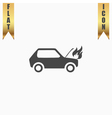 car fired flat icon vector image vector image