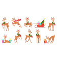 cartoon deer winter celebration fairytale animals vector image vector image