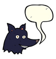 cartoon wolf head with speech bubble vector image vector image