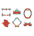 christmas frames and ribbons set vector image vector image