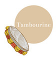 colored tambourine in hand-drawn style vector image vector image