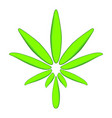 colorful cannabis leaf modern green icon vector image