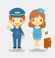 cute pilot and stewardess vector image vector image