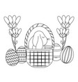 cute rabbit with basket and eggs of easter vector image vector image