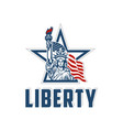 emblem with statue of liberty vector image vector image