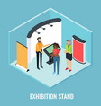 exhibition stand concept flat isometric vector image vector image