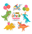 funny cute colorful birthday party dinosaurs vector image vector image