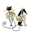 Glamor cat and dog in floral clothes for your vector image