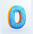 glazed donut font number 0 number zero cake vector image vector image