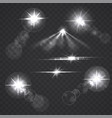 glowing light effect stars and flashes vector image vector image