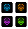 glowing neon alien icon isolated on white vector image