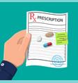 hand prescription rx pills capsules for illness vector image vector image
