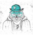 hipster bird owl dressed in cap like rapper vector image