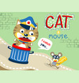 humor cartoon with cat and mouse vector image