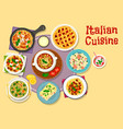Italian cuisine lunch menu with dessert icon vector image