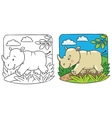 Little rhino coloring book vector image