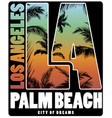 los angeles palm beach t shirt poster design vector image vector image