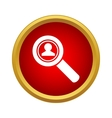 Magnifying glass focused on a person icon vector image