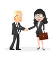 man and woman shaking hands agreement vector image