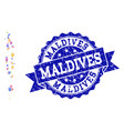mosaic map of maldives with map pointers and vector image