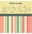 new baby announcement card with retro toys