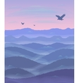 Panorama of hills Sunset Mist Flying eagles vector image